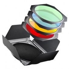 Set-usmerjevalnik, satovje in barvni filtri za studijske luči